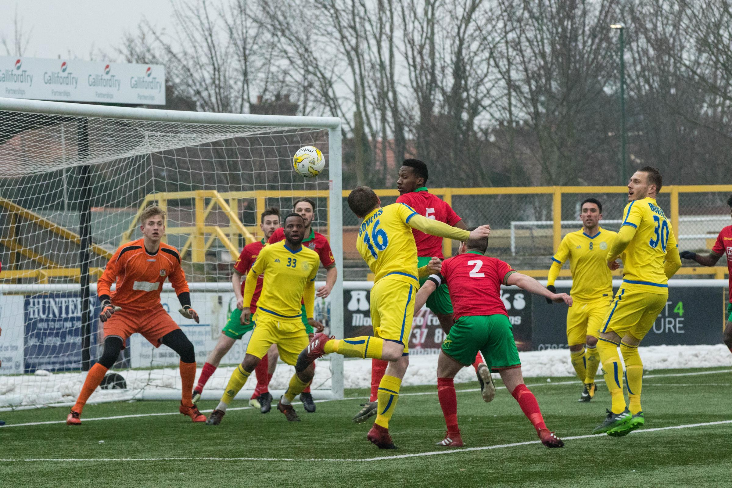 Sutton Common Rovers (yellow) ended their league campaign with a defeat at Balham