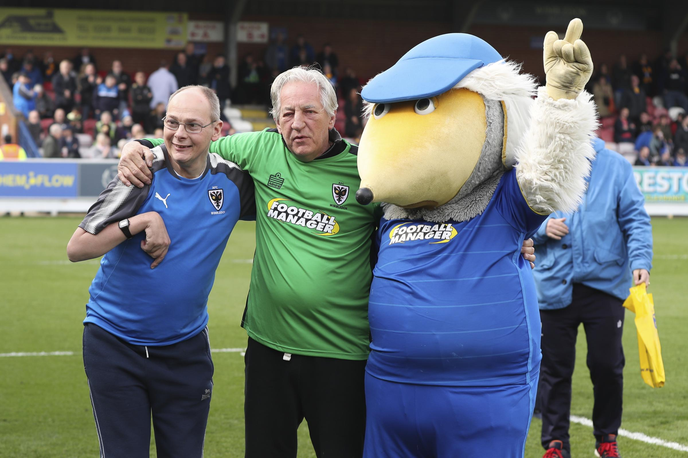 Warren, Paul Strank and Haydon during the EFL Sky Bet League 1 match between AFC Wimbledon and Scunthorpe United. Picture by Matthew Redman.