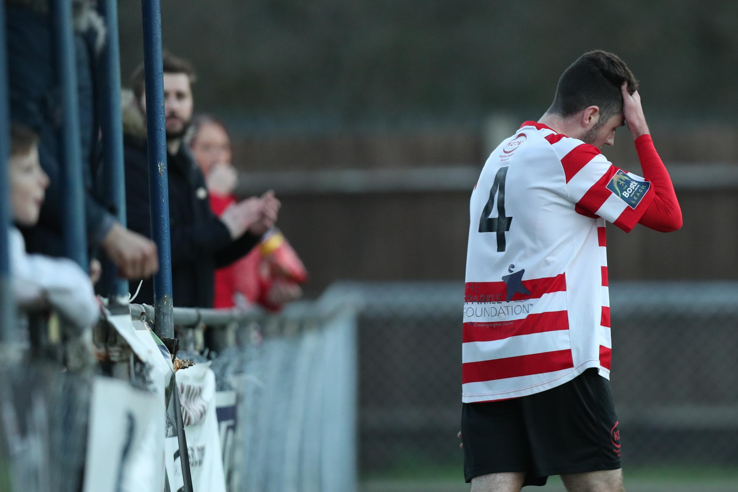 Ben Dempsey shows his disappointment after missing the best chance of the game. Pic: Simon Roe