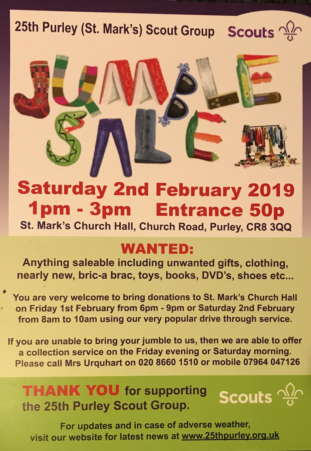25th Purley Scout Group Jumble Sale