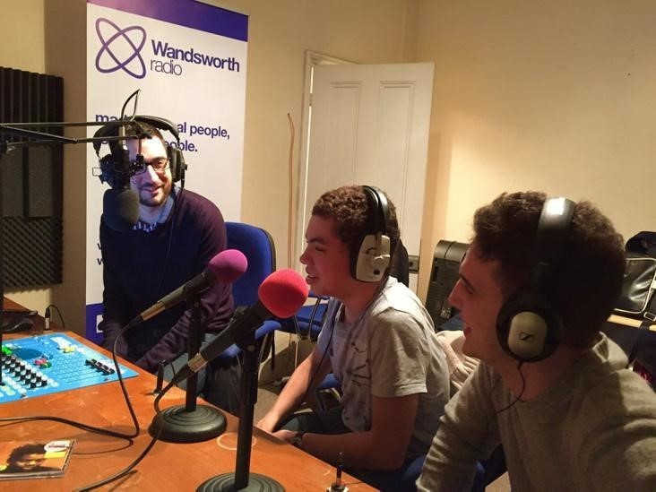 Martin Harris, Kai Chappell and Adam Smith presenting a sports show for Wandsworth Radio