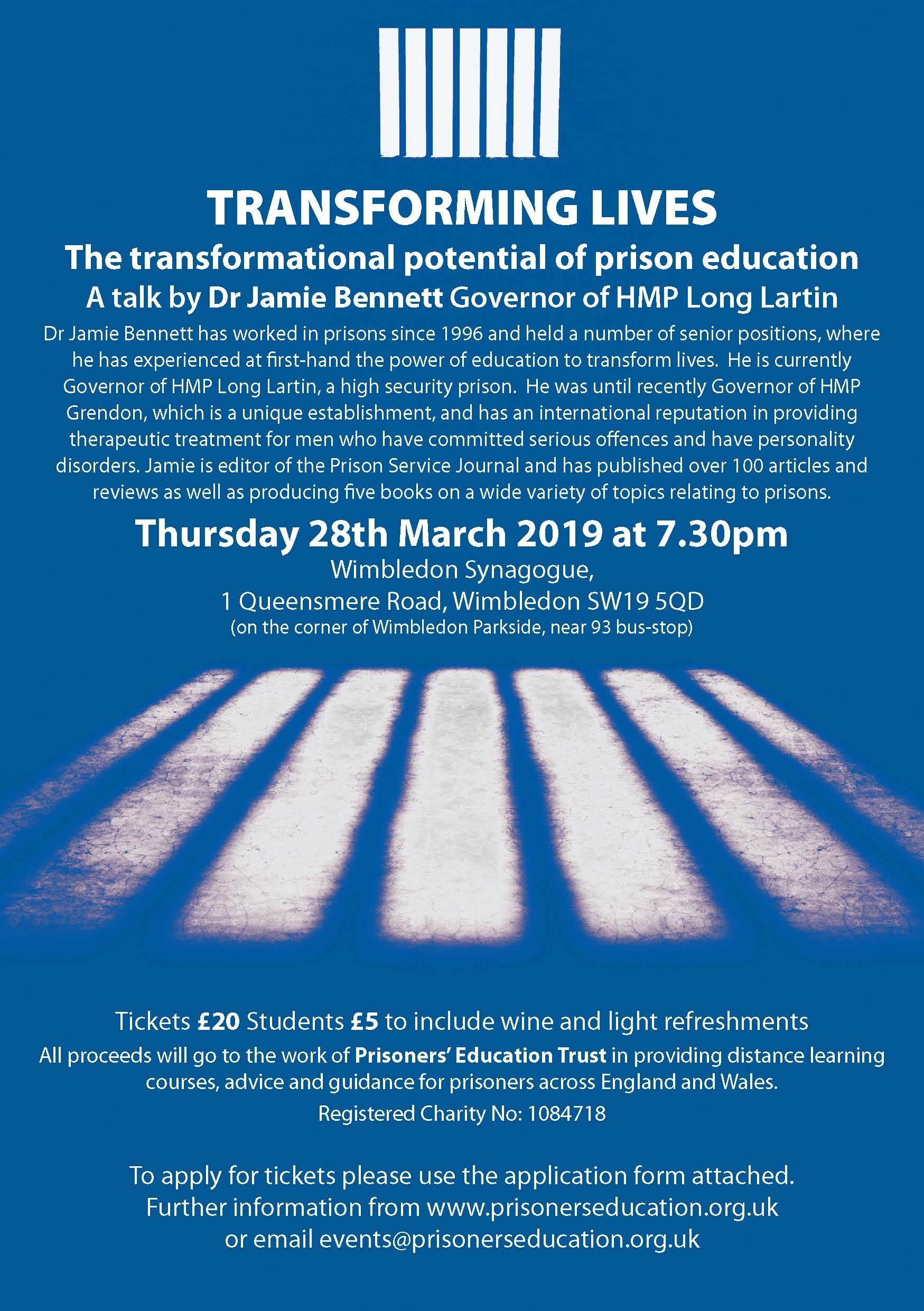 'Transforming Lives– The transformational potential of prison education. A talk by Dr Jamie Bennett'
